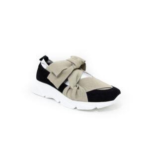 MAIMAI Ribbon Nero Argento Women's Sneakers
